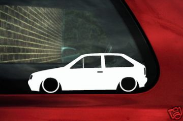 2x LOW VW Polo Mk2 F g40 / GT / 1.3 Coupe outline, Silhouette stickers / Decals